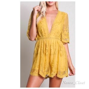 LAST ONE • Aura | Lace Embroidered Deep V-Romper
